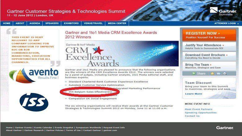 Avento en ISS, Gartner CRM Excellence Awards Winner