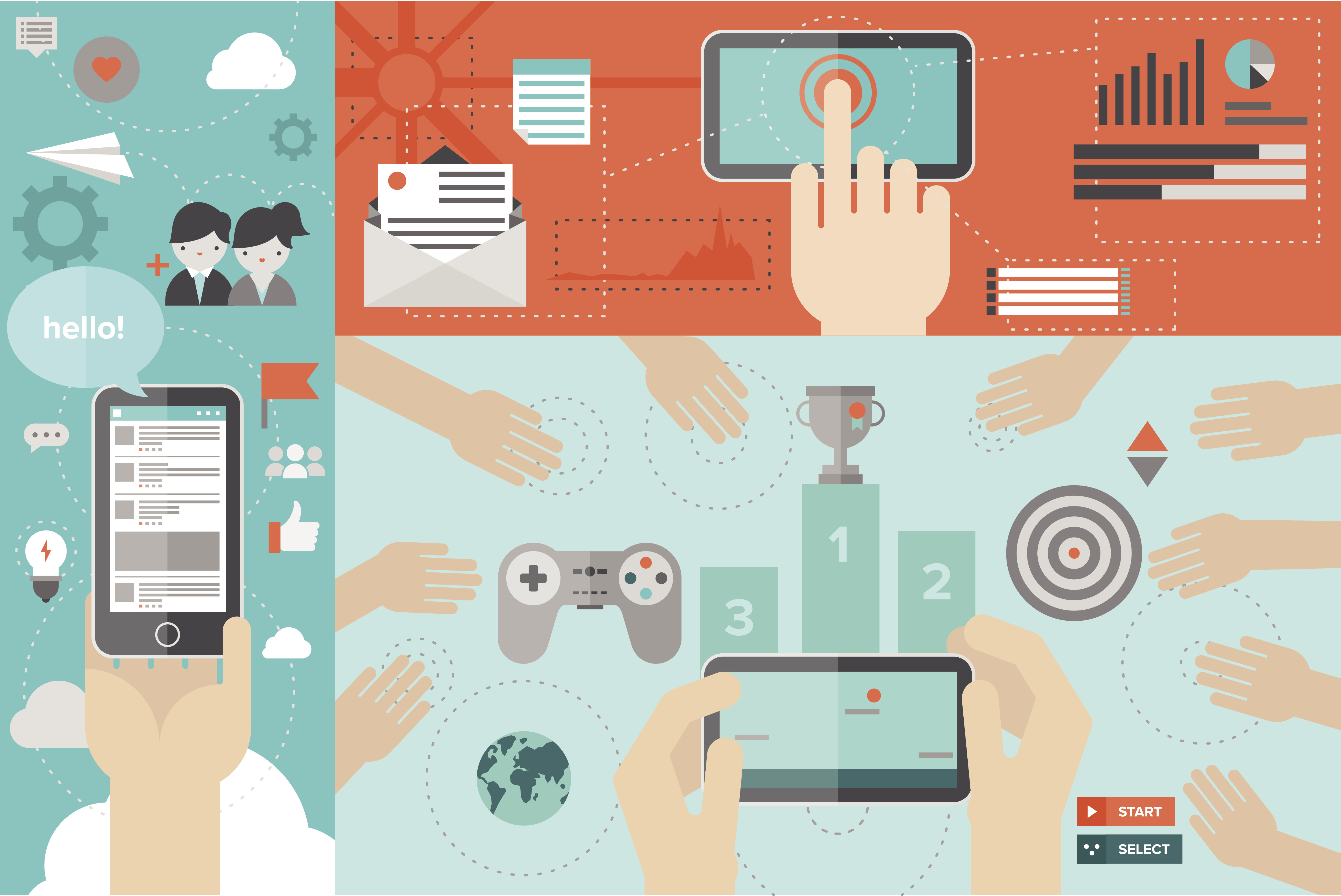 Flat design style modern vector illustration concept of mobile gaming with network friends, game playing awards, smart phone communication and chatting via social media services, using smartphone for mailing and networking.